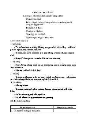 Giáo án mầm non lớp lá - Chủ đề: Gia đình - Đề tài: Dạy kỹ năng: Phòng tránh tai nạn bỏng từ đồ dùng trong gia đình