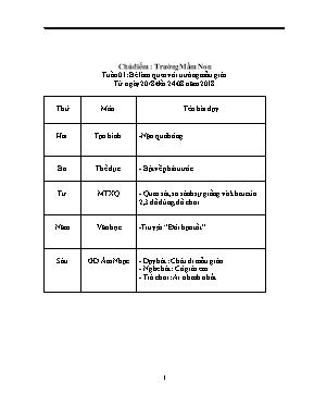 Giáo án mầm non lớp lá - Chủ điểm: Trường Mầm Non - Tuần 01: Bé làm quen với trường mẫu giáo