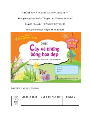 Giáo án mầm non lớp nhà trẻ - Chủ đề 5: Cây và những bông hoa đẹp - Nhánh 2: Quả ngọt bé thích