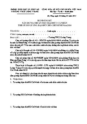 Mẫu: Bản đăng ký xây dựng chuẩn mực đạo đức cá nhân theo tấm gương đạo đức Hồ Chí Minh năm 2014