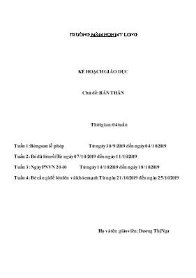 Giáo án Lớp Mầm - Chủ đề: Bản thân - Dương Thị Nga