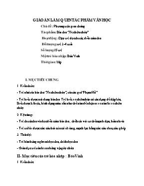 Giáo án Lớp Mầm - Chủ đề: Phương tiện giao thông - Dạy trẻ đọc thuộc, diễn cảm thơ