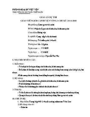 Giáo án Lớp Mầm - Chủ điểm: Động vật - Đề tài: Nhận biết gọi tên hình tròn, hình tam giác - Nguyễn Thị Nhị