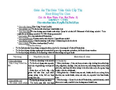 Giáo án Lớp Chồi - Chủ đề: Bản thân của bé (Tuần 3) - Nguyễn Thị Bích Ngọc